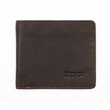 Портмоне zippo, цвет мокко, натуральная кожа, 11x1,2x10 см
