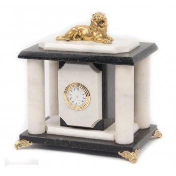 Часы лев бронза мрамор змеевик