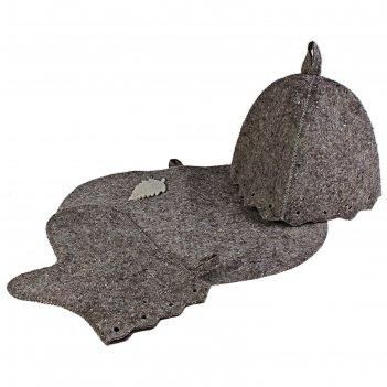 Комплект банный шапка, варежка, коврик, войлок серый