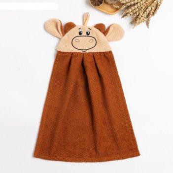 Полотенце-рушник махровый бычок 43х35см, коричневый, хл100%, 300 г/м