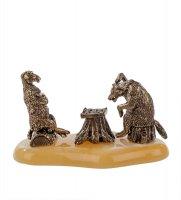 Am-619 фигурка шахматная партия (латунь, янтарь)