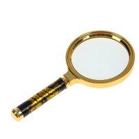 Лупа золото с черной ручкой 4х d=80мм дракон 17см пластик