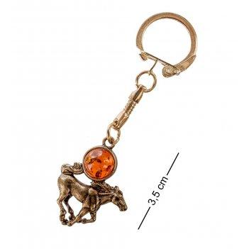 Am-048 брелок лошадь (латунь, янтарь)