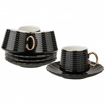 Кофейный набор на 4пер. 8пр. 90мл, черный (кор=12наб.)