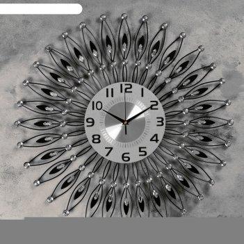 Часы настенные, серия: ажур, пелинья  d=60 см, d=22 см, 1 аа, плавный ход