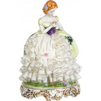 Статуэтка дама диаметр=16 см. высота=24 см. серия фарфоровые кружева (кор=