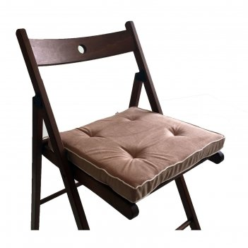 Подушка на стул 38х38 см, h 5 см, цвет бежевый, велюр, поролон, кант