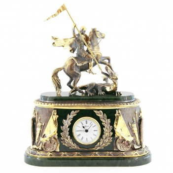 Каминные часы георгий победоносец камень нефрит