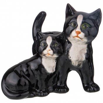 Декоративное изделие пара черных котят 18*14*17 см