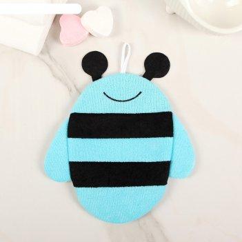 Мочалка варежка детская пчелка, цвет микс