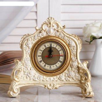 Часы настольные каминные,  цвет слоновой кости, 21х19х6.5 см  микс