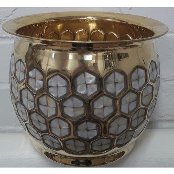 Кашпо из латуни декорированное перламутром