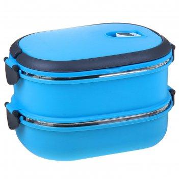 Ланч-бокс (внутри металл), 2 тарелки металлические гастрономия, цвета микс
