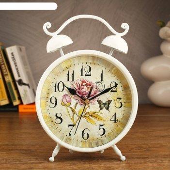Часы настольные, серия ретро с ручкой и 2 звонка, d=16,5см, белый, на цифе