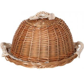 Хлебница с крышкой круглая в комплект входит салфетка диаметр=30 см. (кор=