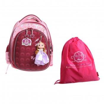 Рюкзак каркасный across 203 35*29*18 +мешок д/обуви дев, красный/розовый 2