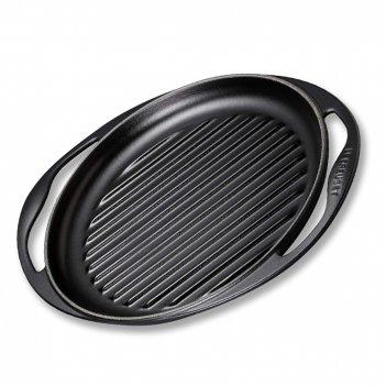 Сковорода - гриль глубокая, диаметр: 25 см, материал: чугун, цвет: черный,