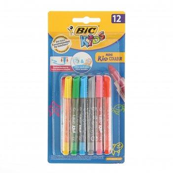 Фломастеры 12 цветов bic kids mini kid colour, легко смываемые