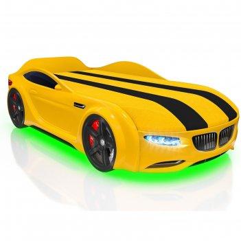 Кровать romack junior x5, 1500 x 700 мм, подсветка дна и фар, цвет жёлтый