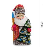 Фигурка дед мороз с елкой (резной) 16см