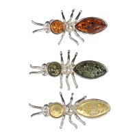 Булавка янтарь , жук, цвет микс 303