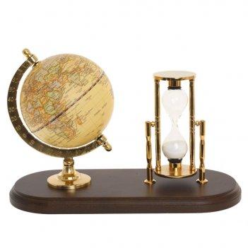 Настольный набор: песочные часы, глобус, l24 w10,5 h16 см