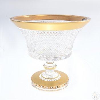Фруктовница золото филиция на ножке bohemia max crystal 25 см
