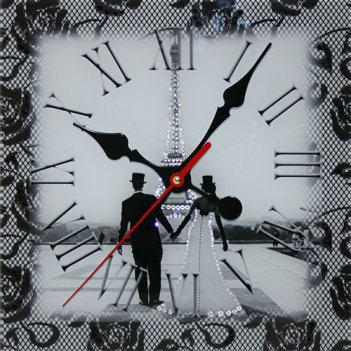 Картина сваровски - часы свадебный париж