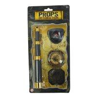 Набор пирата 3 предмета: наглазник, компас, труба