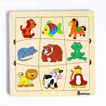 Пазл-ассоциации «животные», 9 карточек, 21x21x0.6 cм