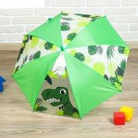 Зонт детский динозаврик, механический, r=35см, цвет зелёный
