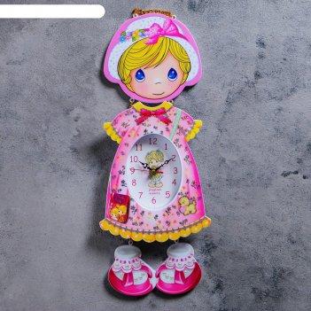 Часы настенные, серия: детские, девочка в панамке 16х42 см