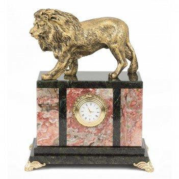 Часы лев змеевик статуэтка мрамолит 175х100х220 мм 2750 гр.