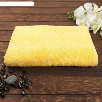 Полотенце махровое жаккард plait 70х130 см, цв 110 желтый, хл.100% 350 гр/