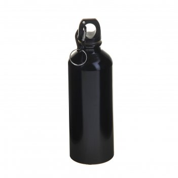 Фляжка туристическая 500 мл с карабином, цвет чёрный