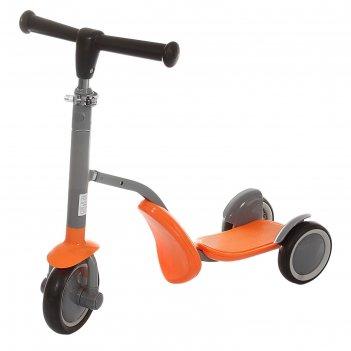 Самокат-каталка стальной s911, три колеса pu, d= 150 мм, h=60-77 см, цвет: