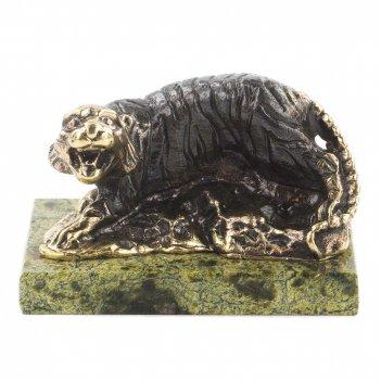 Статуэтка тигр бронза змеевик 70х45х45 мм 300 гр.