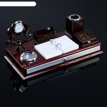 Набор настольный 7в1(часы, визитница, подставка под ручки, бумага, держате