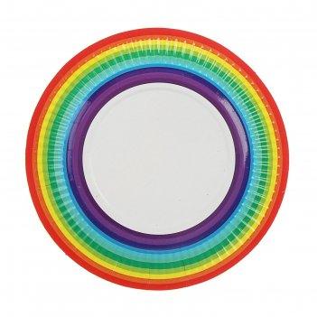 Тарелка с ламинацией радуга, 18 см