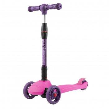 Самокат maxiscoo baby delux со светящимися колёсами, цвет розовый