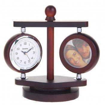 Часы настольные серии дерево, часы ,термометр,2 фоторамки(d=4см) вращ. 10*