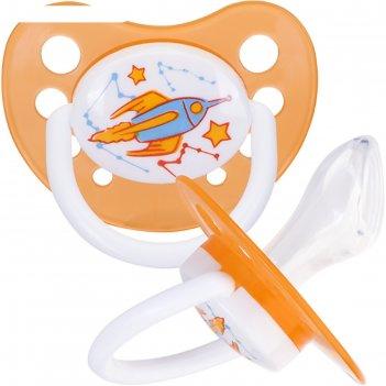 Соска-пустышка силиконовая ортодонтическая «ракета», от 3 мес., цвет оранж