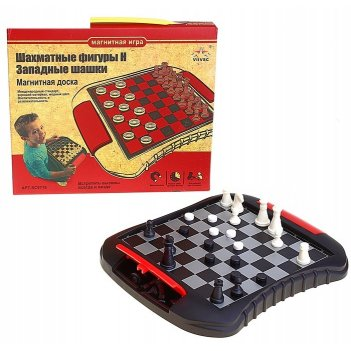 Игра настольная 2в1: шахматы и шашки, магнитные, в коробке