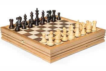 Шахматы малые, самшит, палисандр, король 7см, доска 32х32см