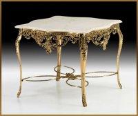 Стол из бронзы с резной столешницей virtus золото 78х98х96см 8185
