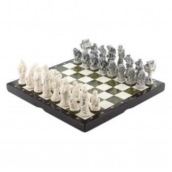 Шахматы русские сказки змеевик мрамор 415х415 мм
