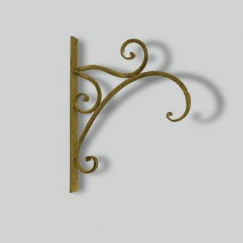 Крючок настенный, декоративный,  золотая патина