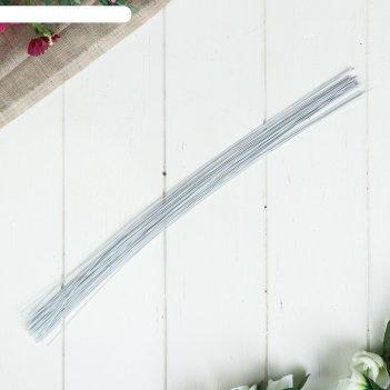 Проволока для изготовления искусственных цветов белая длина 40 см сечение