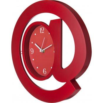 Часы настенные кварцевые собачка диаметр=30 см. цвет: красный циферблат 17