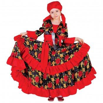 Карнавальный костюм цыганка, косынка, блузка, юбка, пояс, цвет красный, об